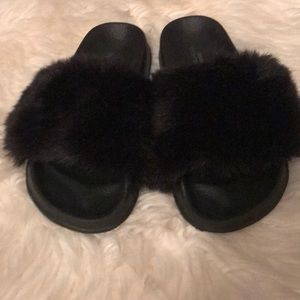 Faux Fur slides from Urban